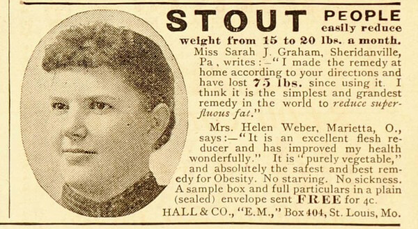 vintage ad for quack fat cure