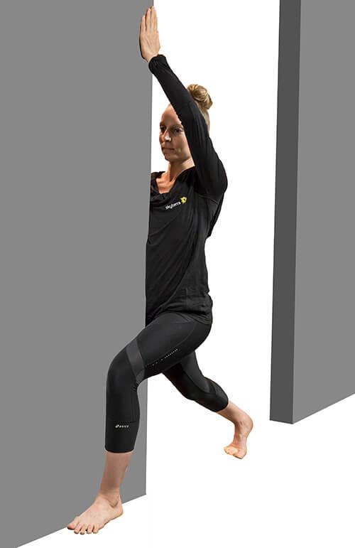 wall hip stretch