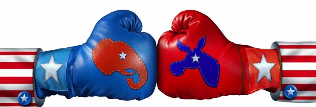 boxing gloves with election symbols