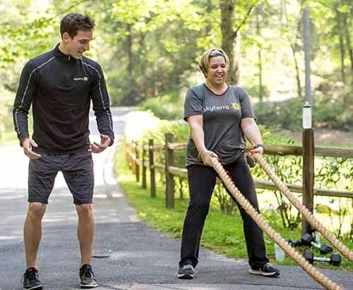 jeff teaching battle ropes exercise