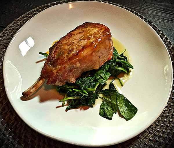 pork chop with greens